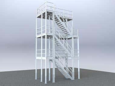 Steel, three level platform