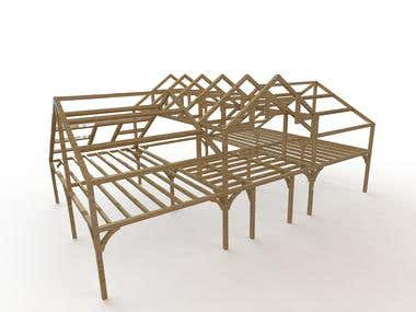 Wood frame of house (The model made in SOLIDWORKS software)