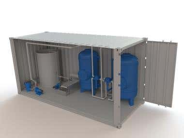 Water treatment unit (The model made in SOLIDWORKS software)