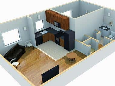 3d modelling , interior design