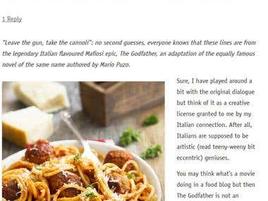 A blog post for an Italian restaurant in Australia