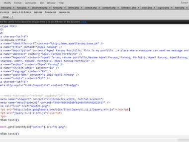 Sample code while working on Adobe Dreamweaver