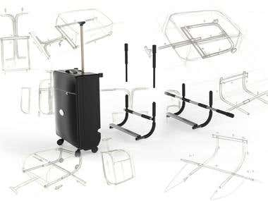 Baggage  design with an integrated pull up bar