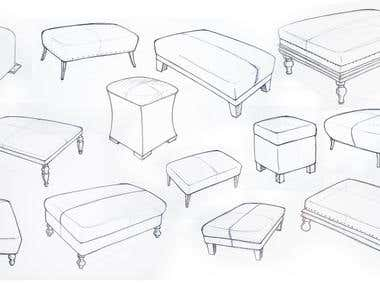 furniture illustration sketches