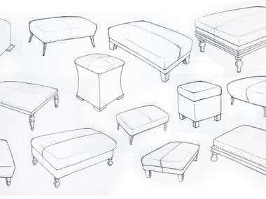 furniture illustration sketches