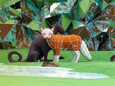 """Art work on \""""low poly animals\"""""""