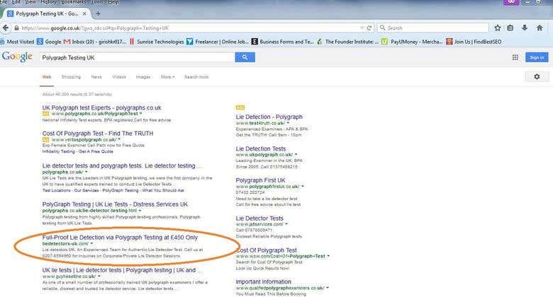 Achieved 3 keywords rank in Google top 5 - Lie Detector test
