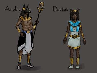 Character sheet for Anubis and Bastet as human beings