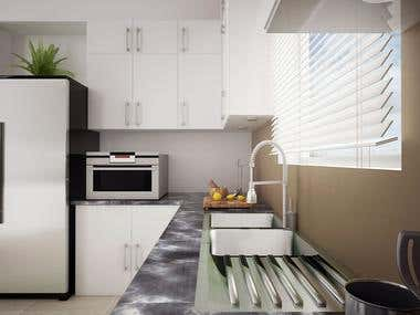 Kitchen design and rendering