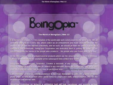 Marketing for boingopia corporation