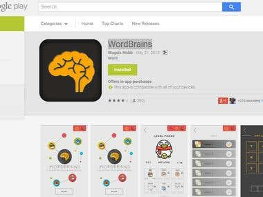Marketing for WordBrains Google play app