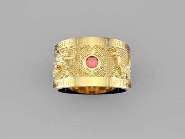 Ruby Dragon Phoenix Ring
