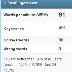 Typing speed 91 WPM with 100% accuracy.