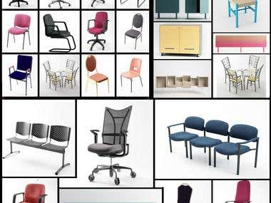 Office furniture modeling and rendering