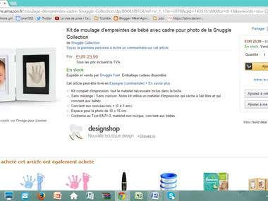 English to French -Baby product for sale on Amazon