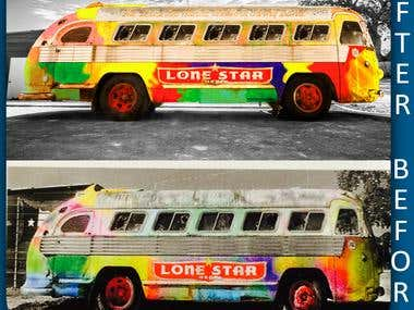 Low resolution picture of a bus that is a multicolored bus