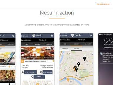 Nectr Business Application Landing Page