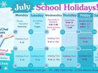 Frozen Theme Winter Schedule
