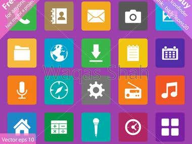 Set of 20 flat Icons for Mobile Apps