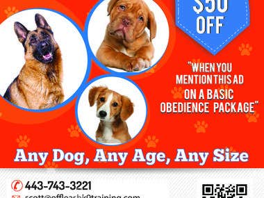 Flyer for K9 Dog Training service