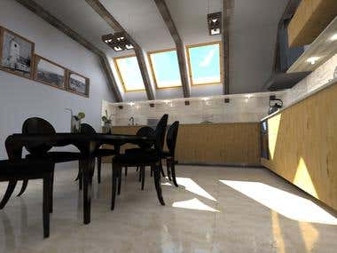 Kitchen 3D render