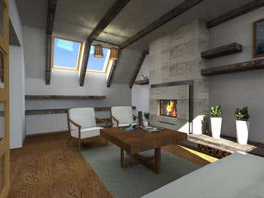 Living room 3D render