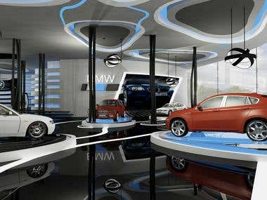 Car and Motorcycles Showroom