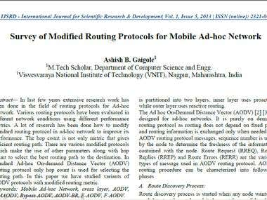 Performance Evaluation of AODV Routing Protocol in MANET