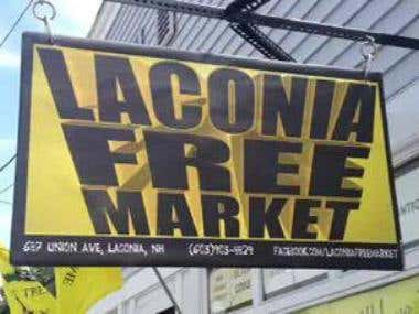 Laconia Free Market Logo & Sign