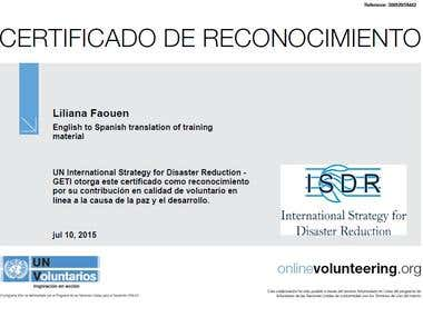 Certificate of translation for UN