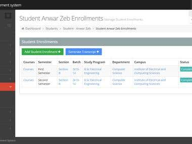 Semester Management System for a University