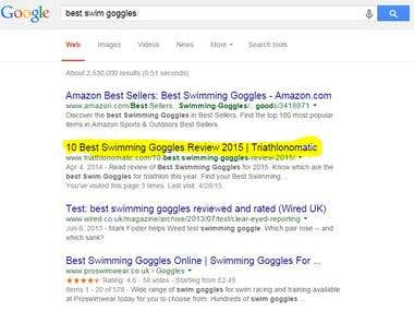 Achieved rank 2 on Google For Best Swimming Googles