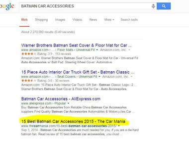 Achieved rank 4 on Google For Batman Car Accessories