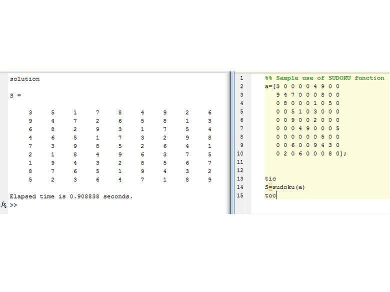 SUDOKU Simple Recursive Solver using MATLAB   Freelancer