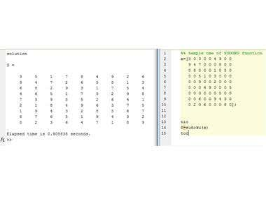 SUDOKU Simple Recursive Solver using MATLAB