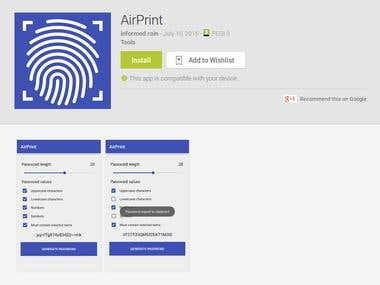 AirPrint - A password generator app that uses audio.
