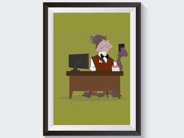 Create an Animation for a monkey booking a meeting
