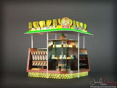 Food stall design and rendering.
