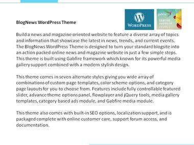 Product Description - Word Press Theme 1