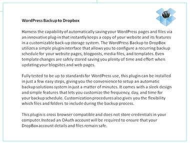 Product Description - WordPress PlugIn