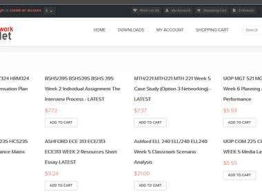 Homework selling ecommerce platform - opencart