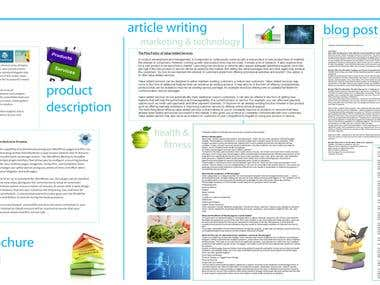 Article Writing/Product Descriptions/Copywriting/Blogging