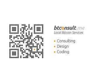 bitconsult.me logo and qr code design on businesscard