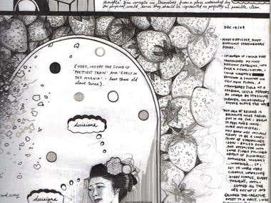 Ink drawing, book illustration
