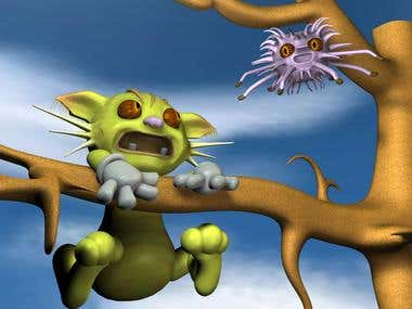 3D modeling -scared cat and spider