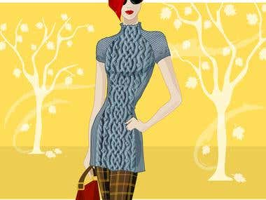 knitted dress illustration