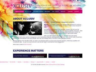 XCLUSIV Website using Codeignitor