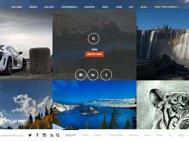 Homepage with hover gallery design