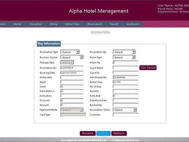 Web based Hotel Management System - Reservation Module