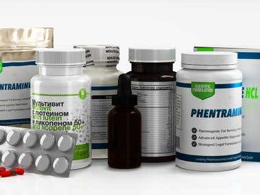 Bottles,  medicaments, supplements